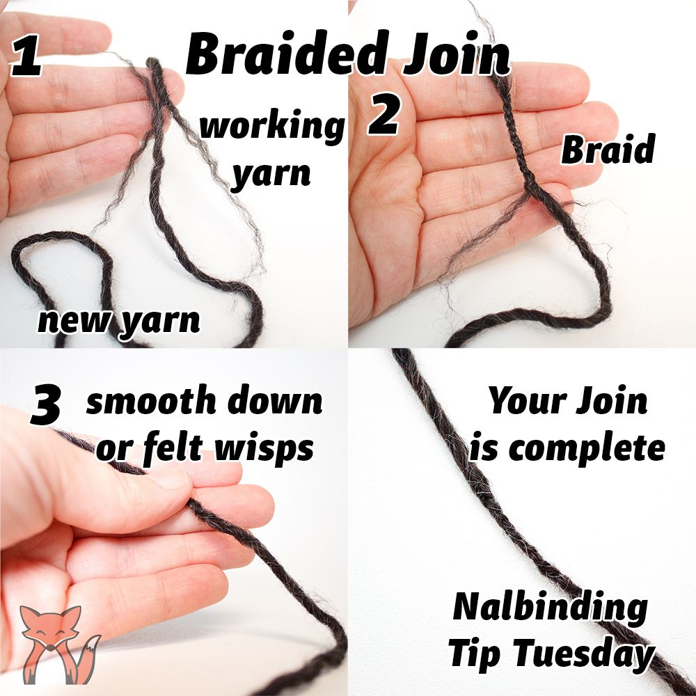 Nalbinding TipTuesday A braided join works great for yarn that doesn't felt. (More joins to come…)