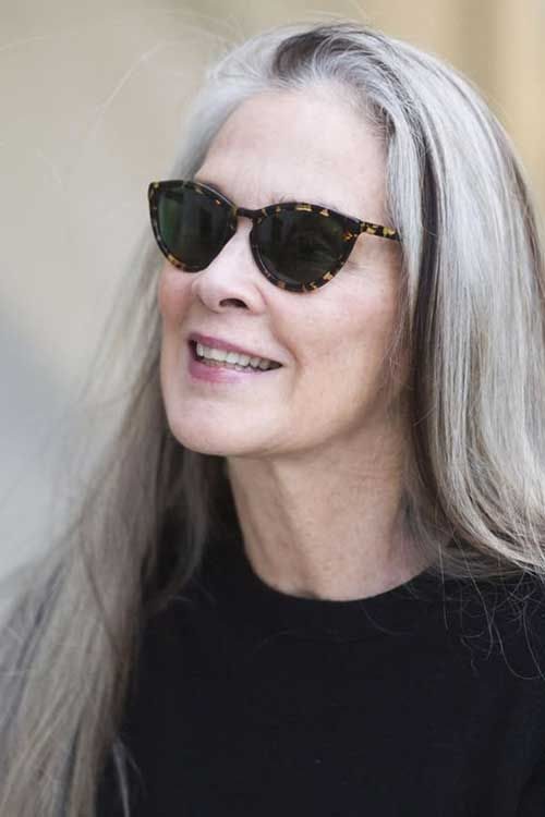 10.Chic Hairstyles Over 50 | Long gray hair, Silver haired ...