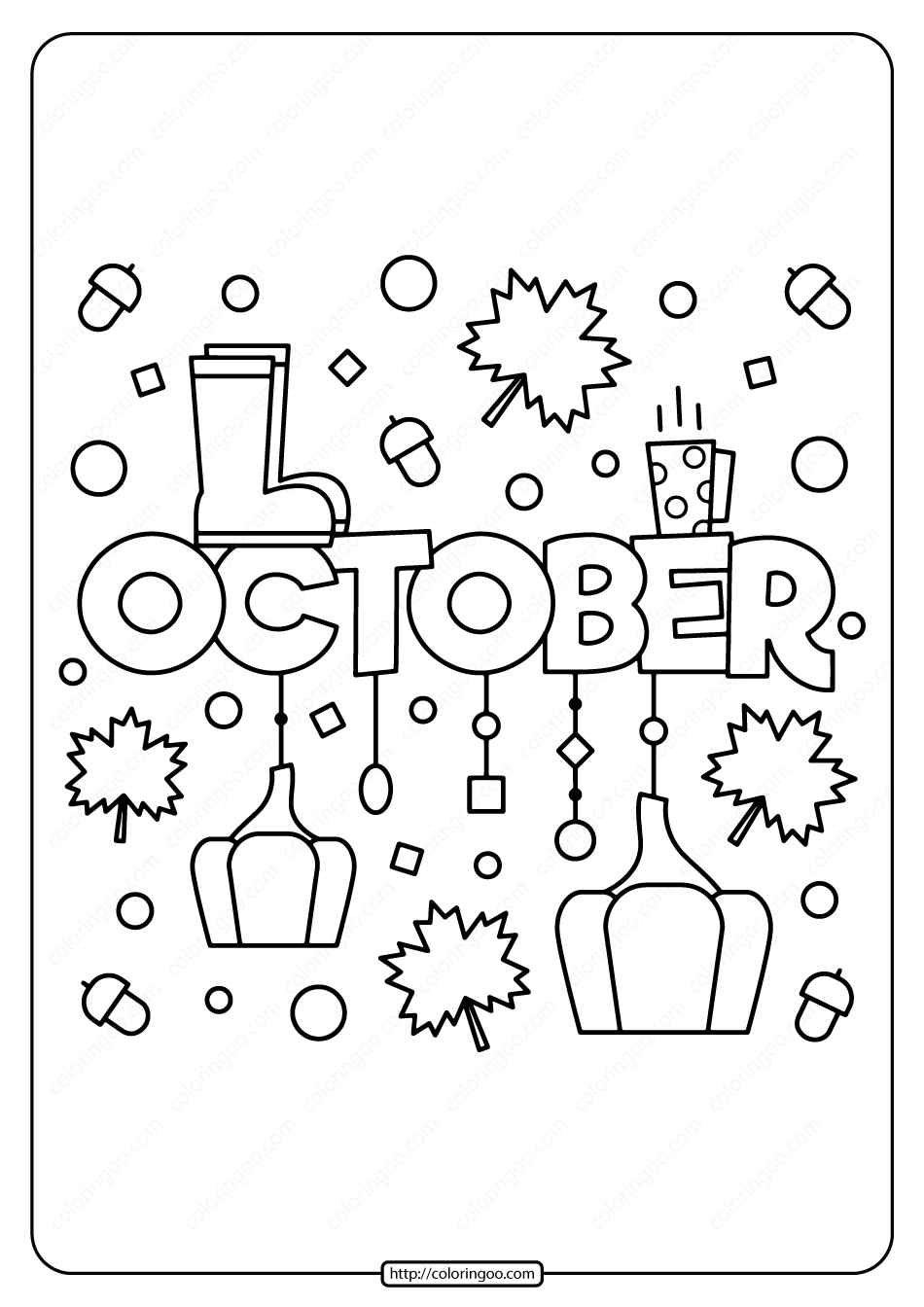 Free Printable October Pdf Coloring Page Fall Coloring Pages Quote Coloring Pages Free Coloring Pages