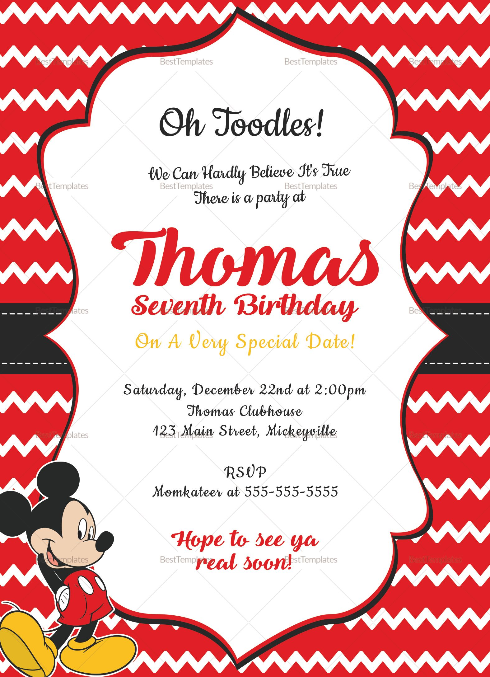 Editable Mickey Mouse Birthday Invitation Card Template