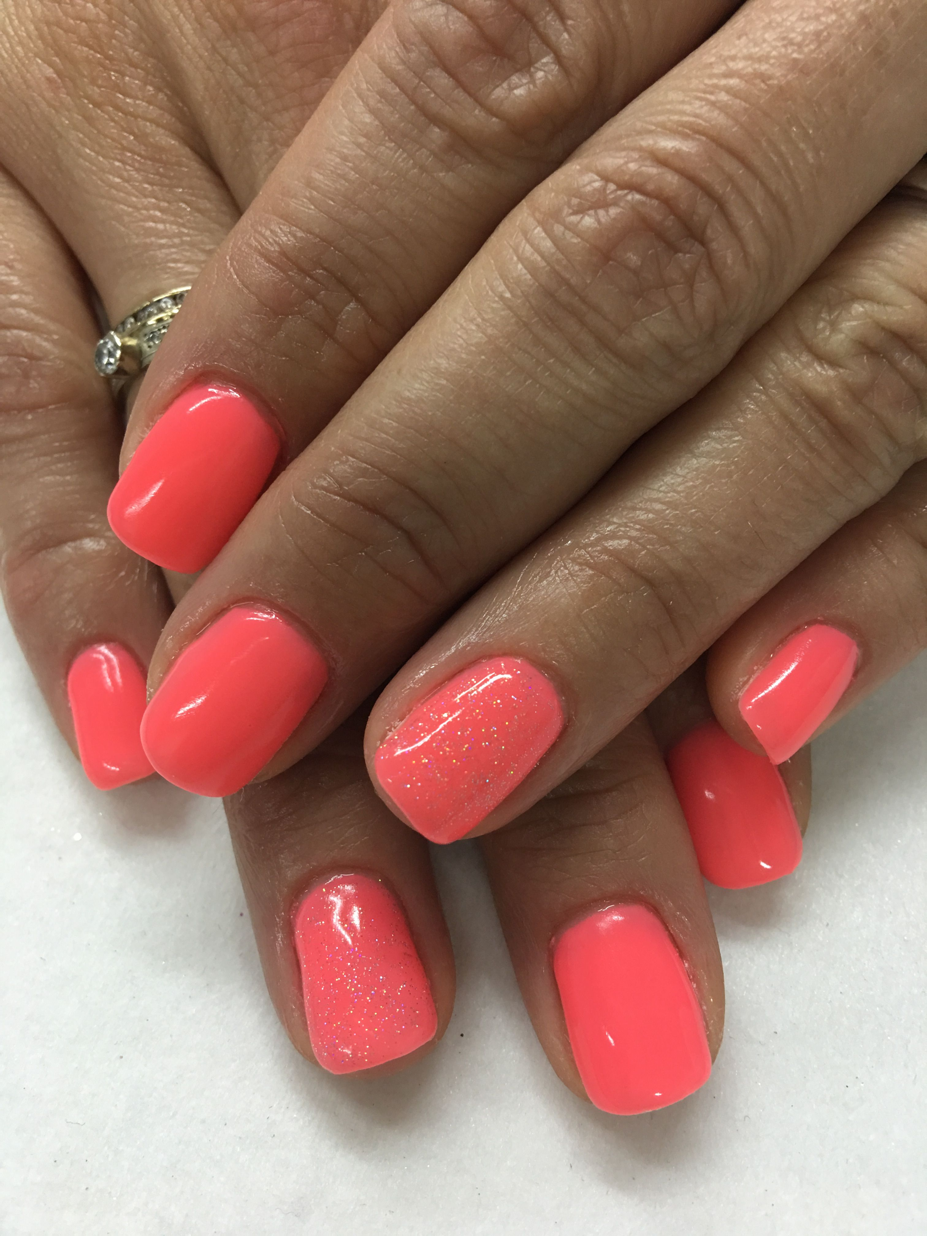Bright Summer Coral With Baby Sparkles Gel Nails Bright Coral