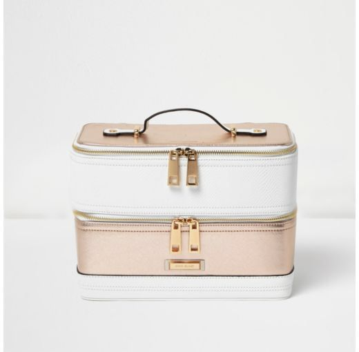 Checkout This White And Rose Gold Panel Vanity Case From River Island Rose Gold Makeup Bag Women Handbags Purses