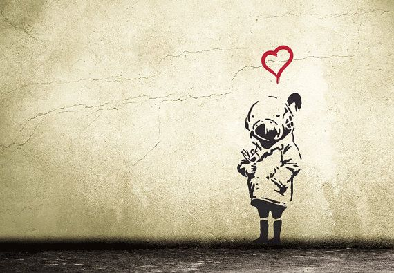 BANKSY TANK GIRL wall decal with heart and birdy Street Art Wall Sticker Urban Wall Art Vinyl Art Grafitty Stencil | Tank girl and Banksy. & BANKSY TANK GIRL wall decal with heart and birdy Street Art Wall ...