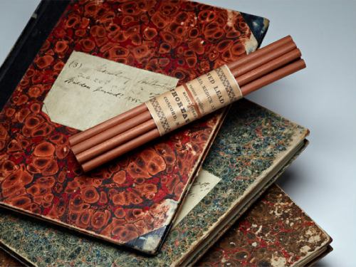"jbtaylor: "" Henry David Thoreau's personal diaries, along with pencils made by his family's own company (all currently on display in a special exhibit at the Morgan Library, NYC). """