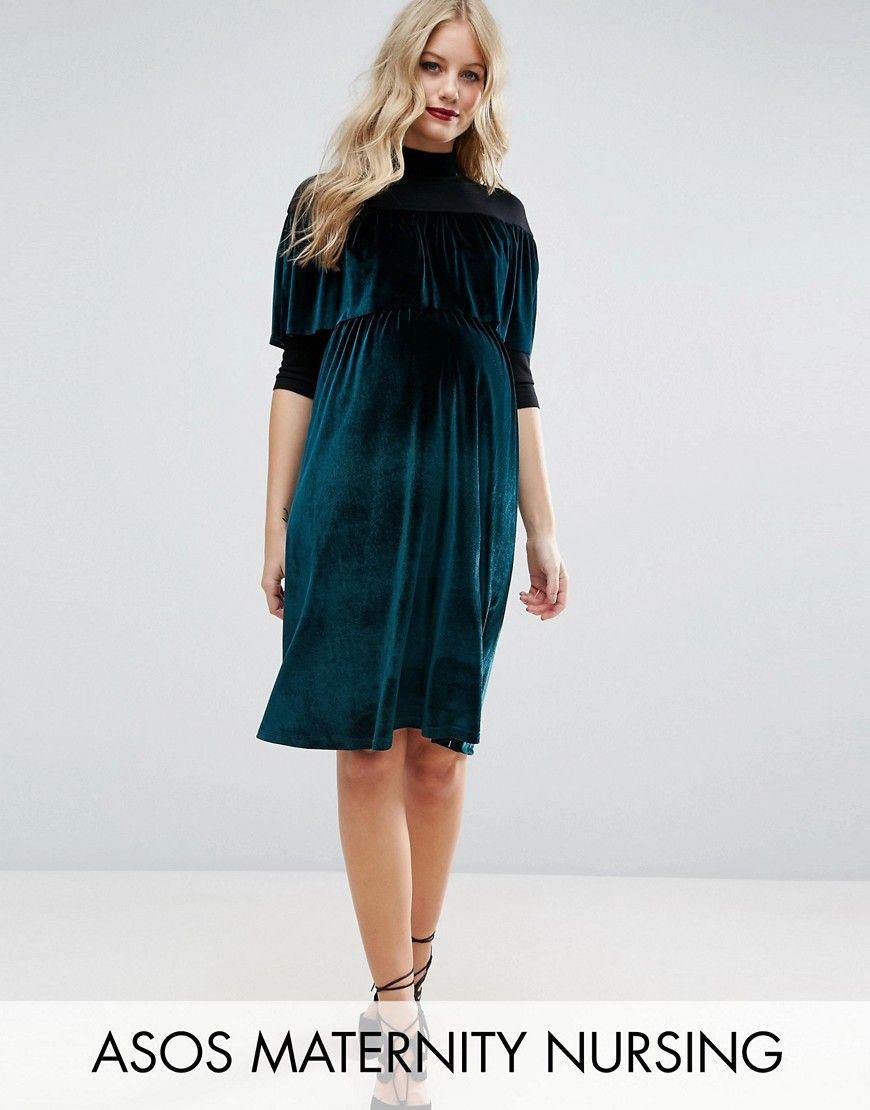 0ff4af06180a5 ASOS | Maternity NURSING Velvet High Neck Mini Dress | Modest Finds ...