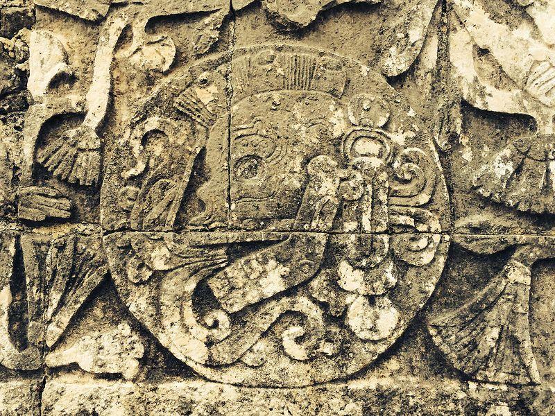 Calavera parlante en Chichén Itzá.