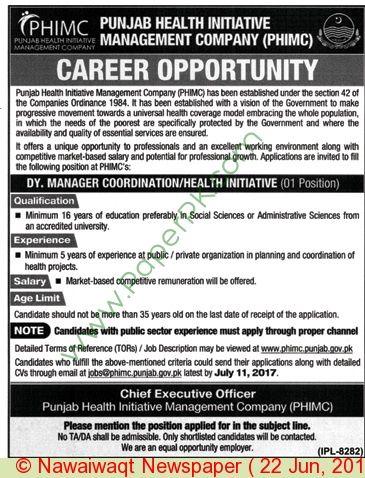 Punjab Health Initiative Management Company Pakistan Jobs Jobs In
