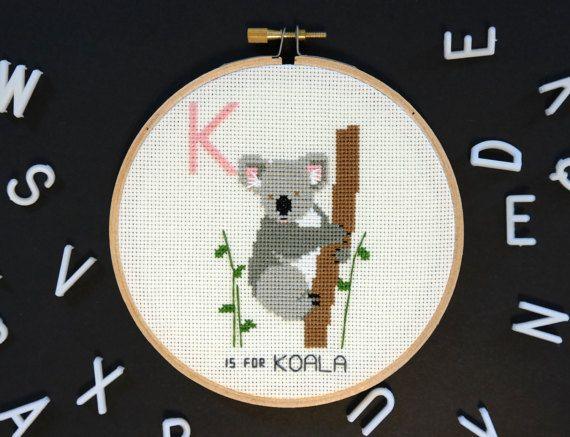 Koala modern cross stitch contemporary embroidery zoo animals koala modern cross stitch contemporary embroidery zoo animals alphabet flash cards personalized baby gift australia animal house pinterest negle Gallery