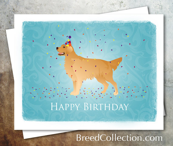 Golden Retriever Dog Birthday Card From The Breed Collection