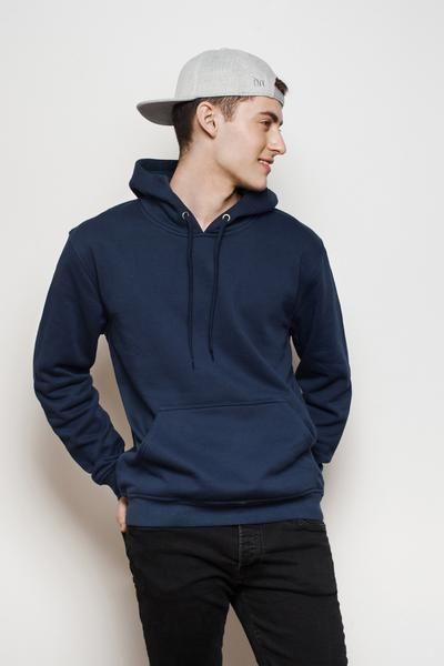 Men Navy Blue Fleece Pullover Hoodie. Breathable in the summer and warm in  the winter. Simple and casual style for an everyday outfit. c3c63bd4bf