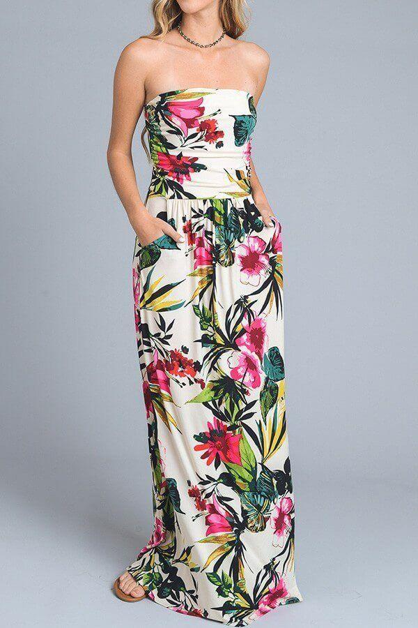 Island Paradise Beige Tropical Floral Print Strapless Maxi Dress ...