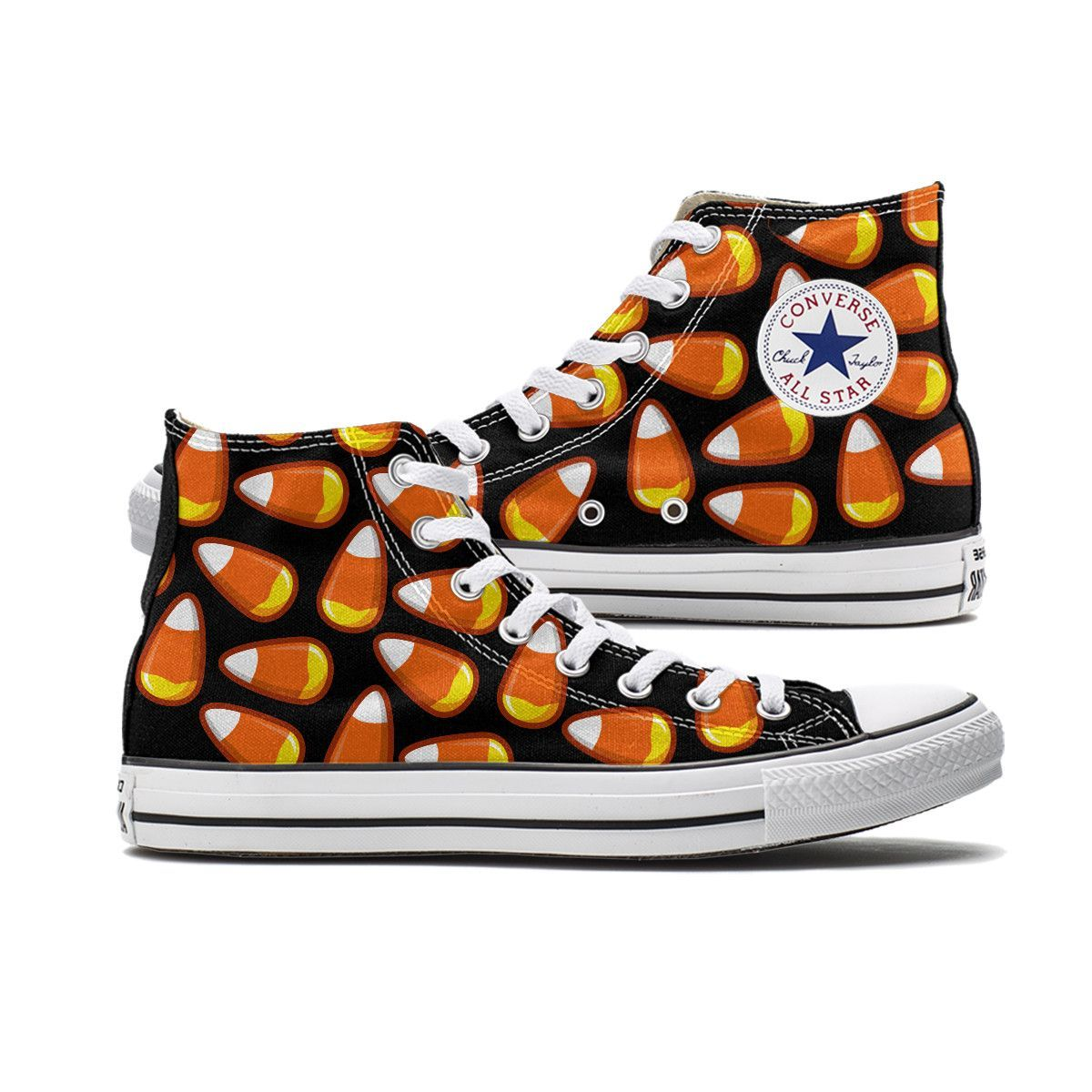 438b26d1a34a Candy Corn Converse Black High Top chucks are here and made to order  especially for you. These Chucks feature a Candy Corn pattern over both  panels of the ...