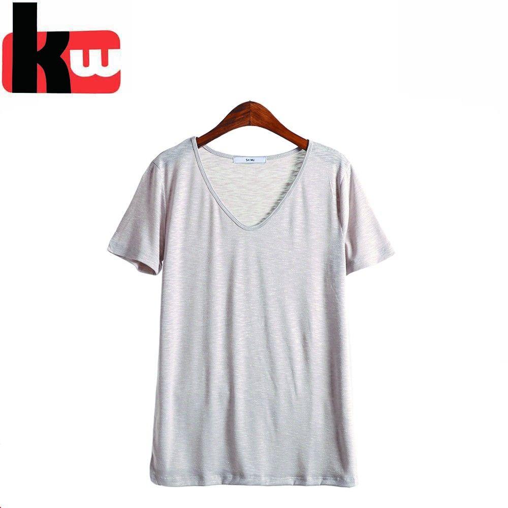 2018 Free Sample Wholesale Plain Color Women T Shirt Custom Bulk