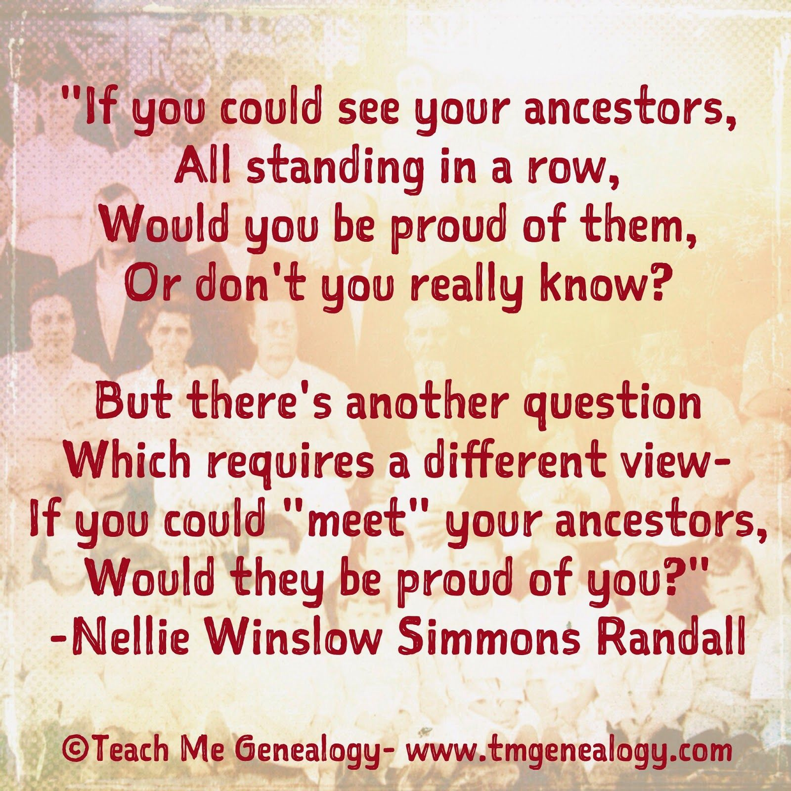 """A beautiful genealogy poem; """"If You Could See Your"""