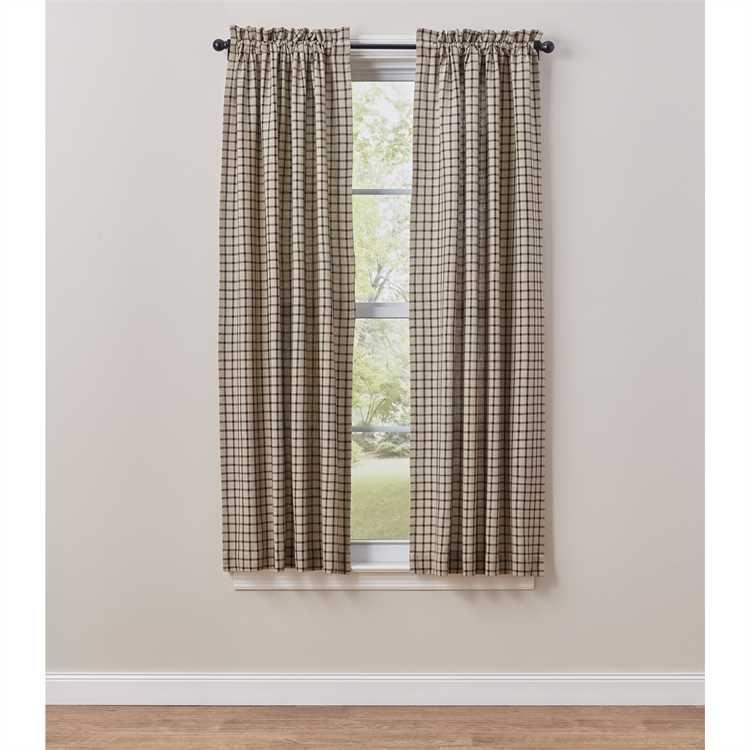 Black Oatmeal Stoneboro Check Curtain Panels 72 X 63 Panel Curtains Curtains Check Curtains