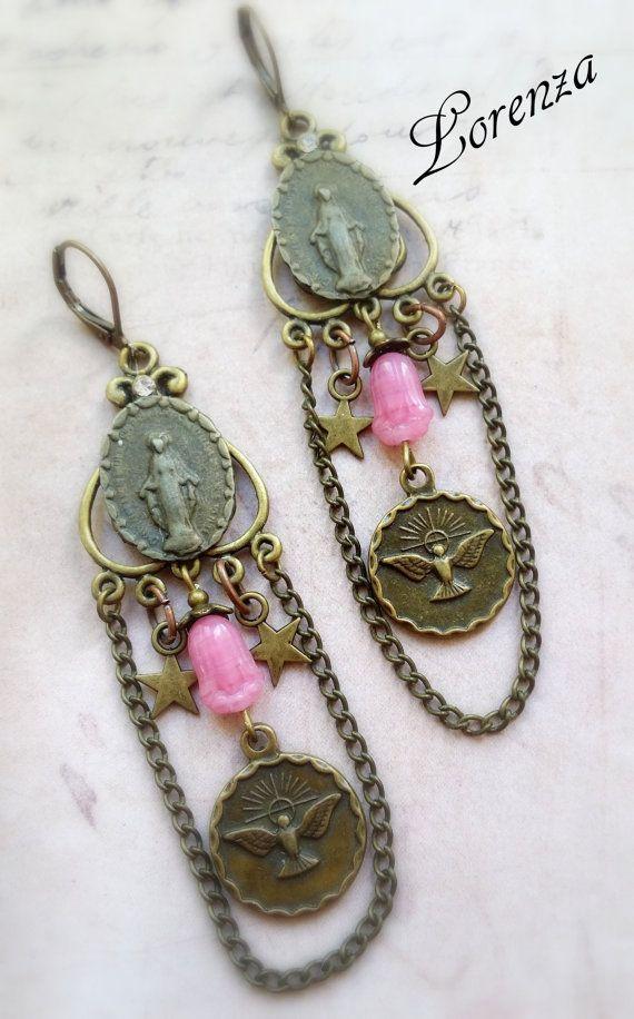 Opal pink neo victorian  Holy spirit  earrings by lorenza33