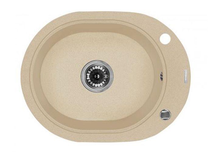 DEANTE COUNTRY Spüle 1-#Einkammer runde sandfarben granit 56 x 43 - spülbecken küche granit