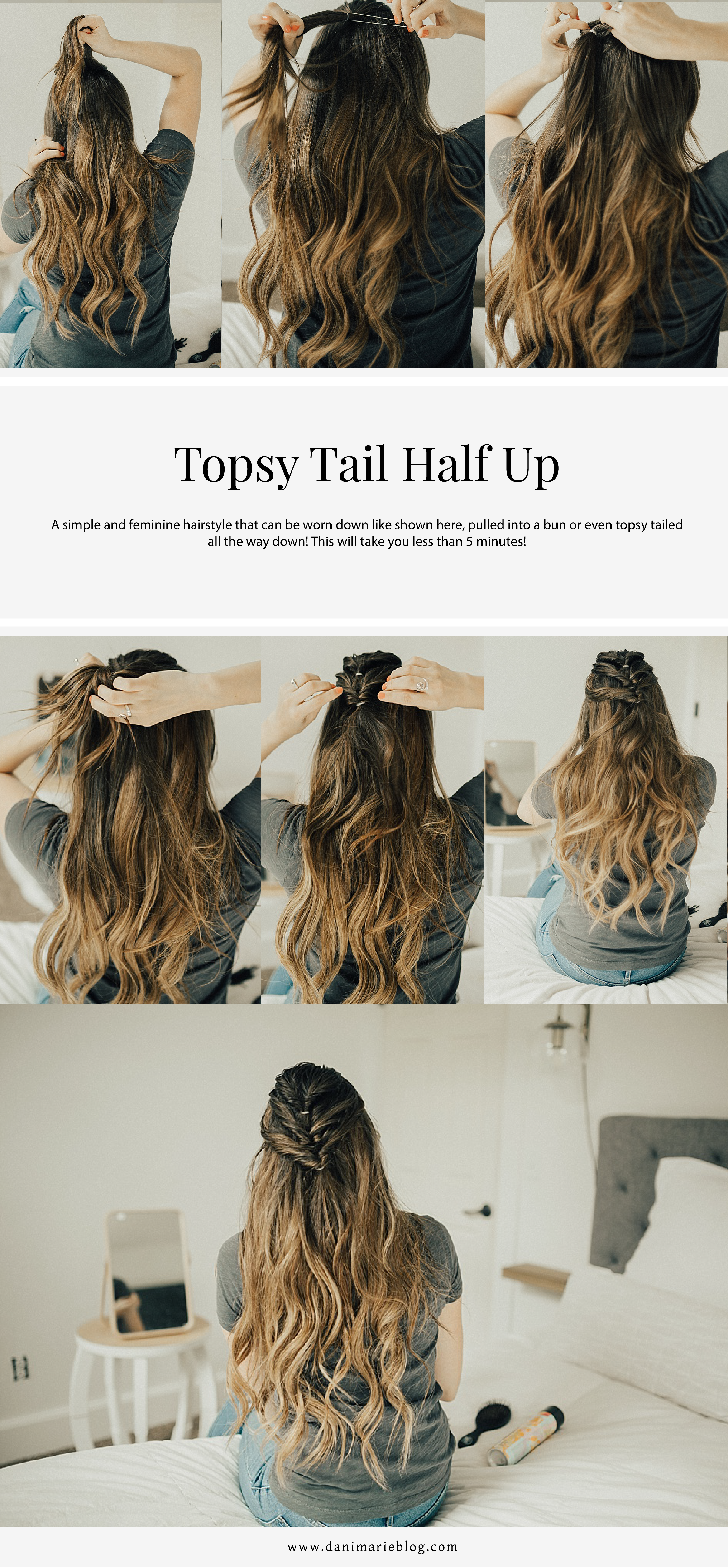 Easy DIY Topsy Half Up Hairstyle For Valentine's Day Dinner