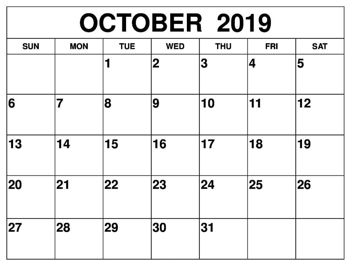 October 2019 Calendar Desk Printable Calendar Template