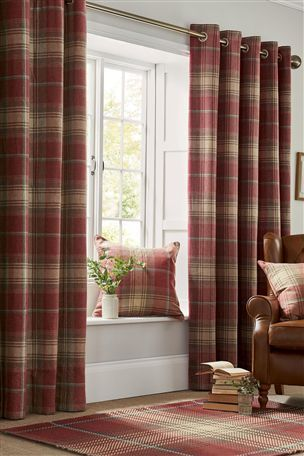 Buy Red Woven Check Stirling Pencil Pleat Curtains from the ...