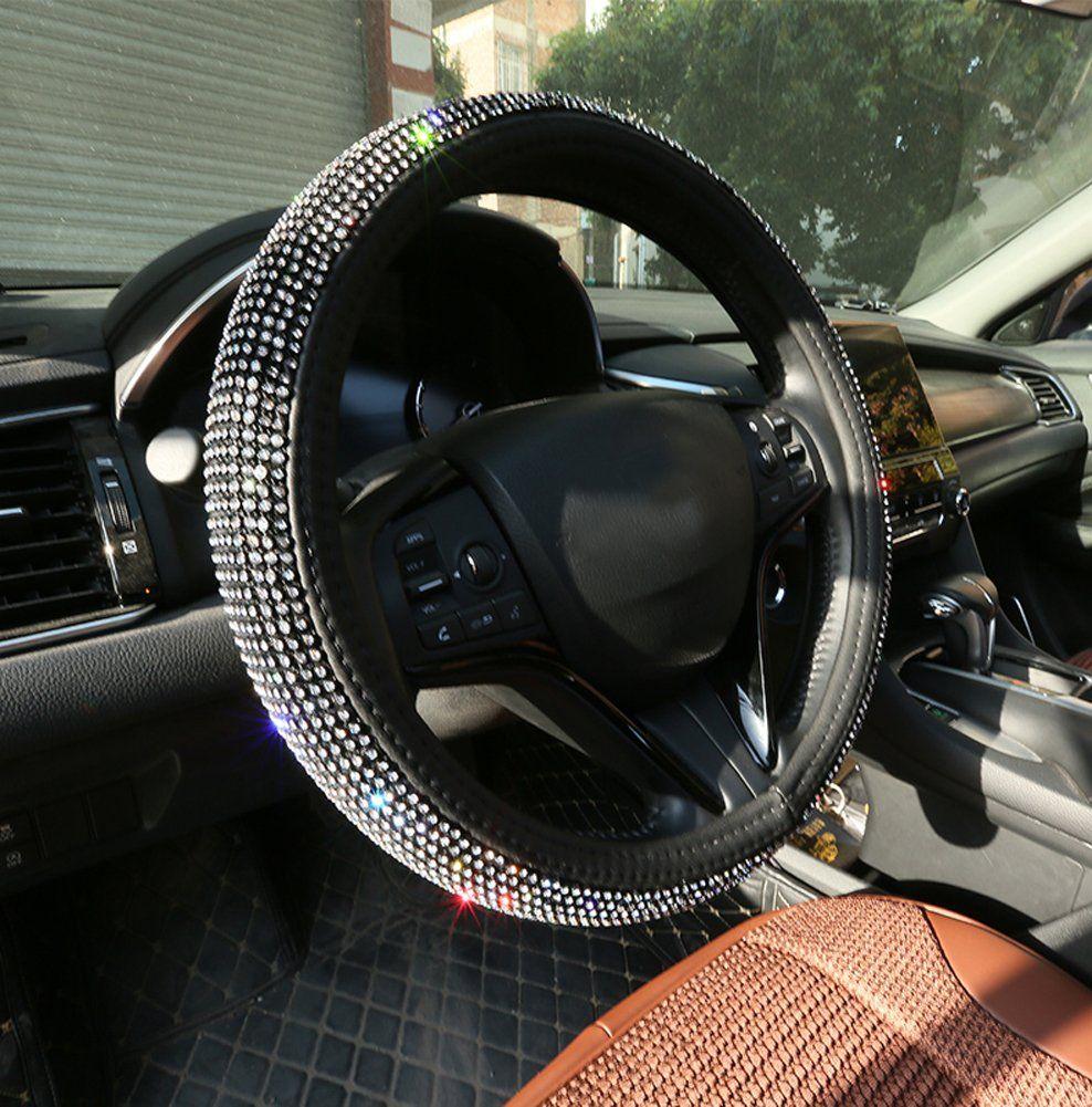 Seemehappy Super Twinkling Rhinestones Car Steering Wheel Covers Bling Bling Leather Steering Whee Steering Wheel Steering Wheel Cover Car Steering Wheel Cover