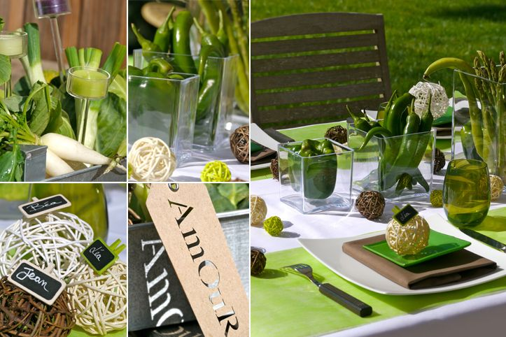 D corations d 39 ambiance table mariage anis chocolat e for Centre de table vert anis