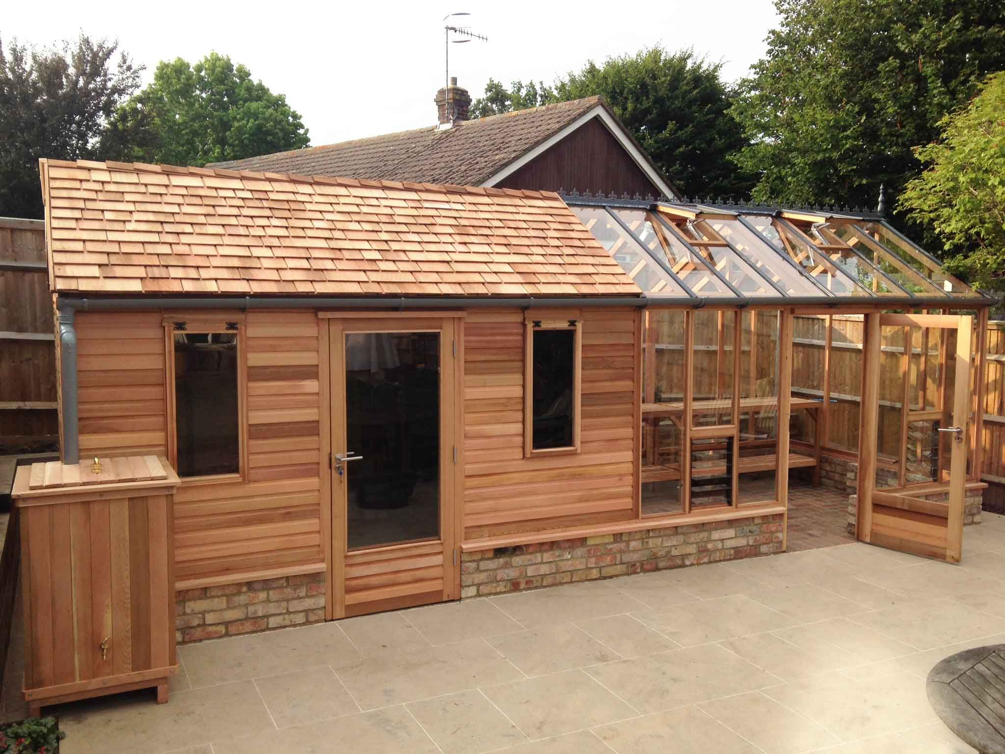 Combo shed and greenhouse pinterest for Outside office shed