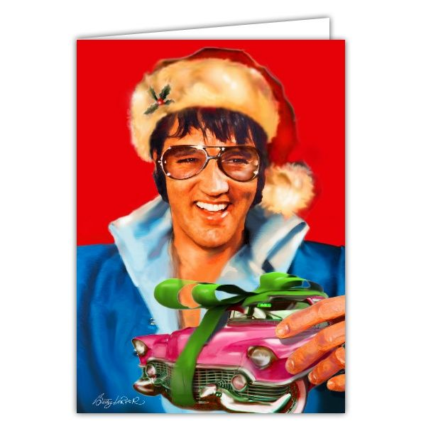 Pink Cadillac Christmas Greeting Cards Elvis The King