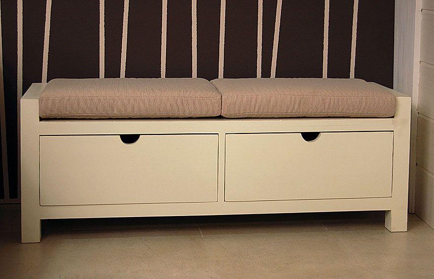 Banco colonial blanco 2 cajones material madera de teca - Muebles de madera teca ...