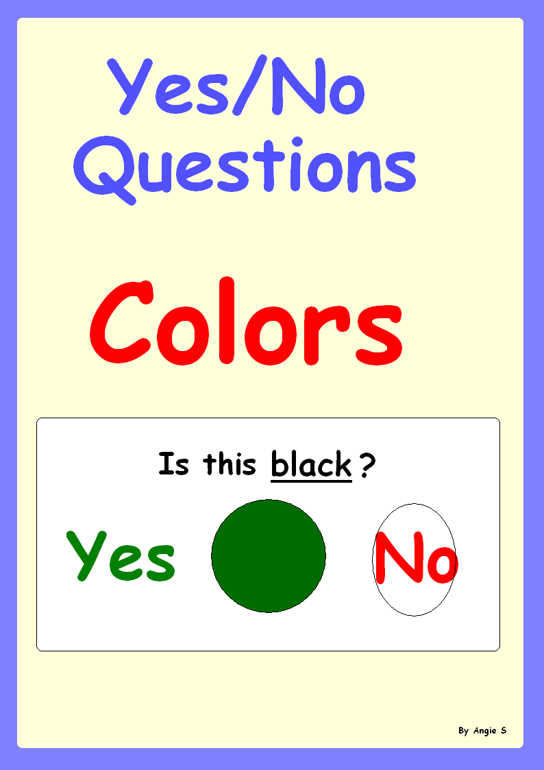 Learning Colors Yes No Questions For Special Education Tpt Misc