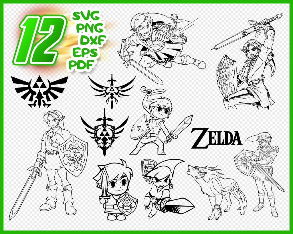 Legend of Zelda Silhouette Files Decal Ai- Printing Anime Characters SVG T-Shirts