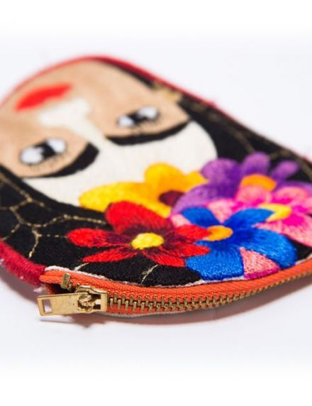 FRIDA EMBROIDERED COIN PURSE