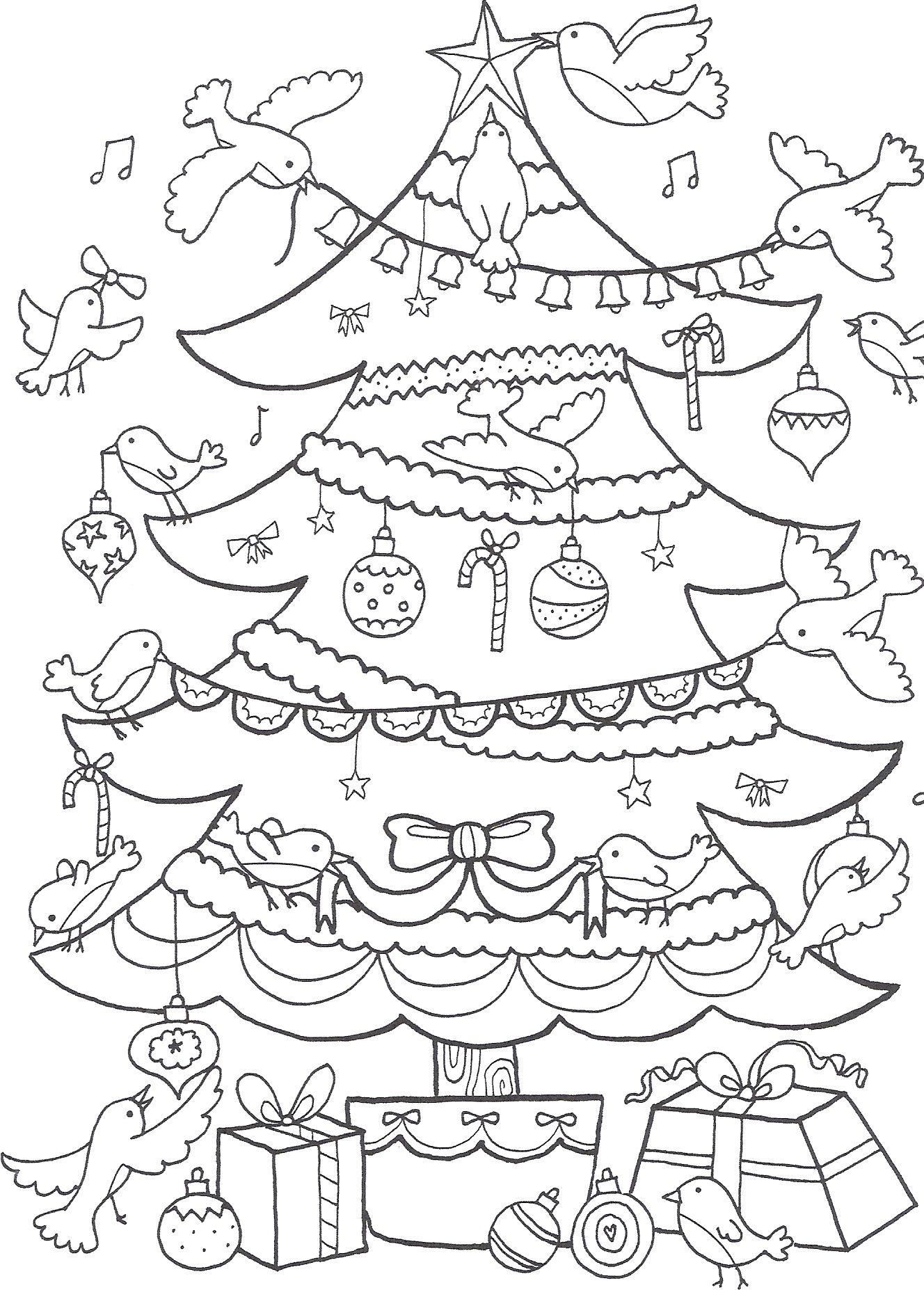 Kerstboom kleurplaat kerstmis kerst christmas coloring