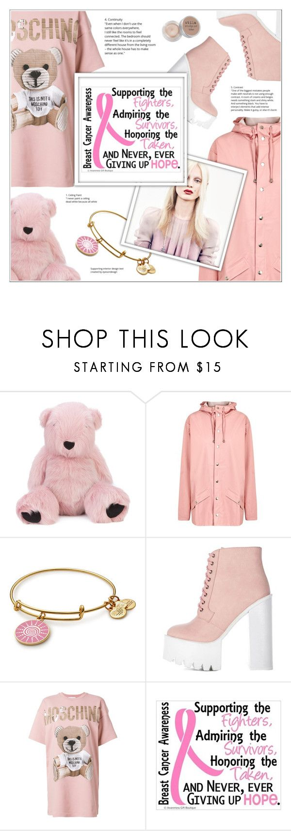 """I wear pink... for all women of the world!"" by shambala-379 ❤ liked on Polyvore featuring Charlotte Simone, Rains, Marc, Moschino, Stila, polyvoreeditorial and breastcancerawareness"