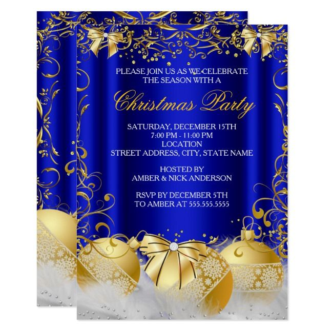 Royal Blue Gold Bow Bauble White Christmas Party Invitation    Royal Blue Gold Bow Bauble White Christmas Party Invitation