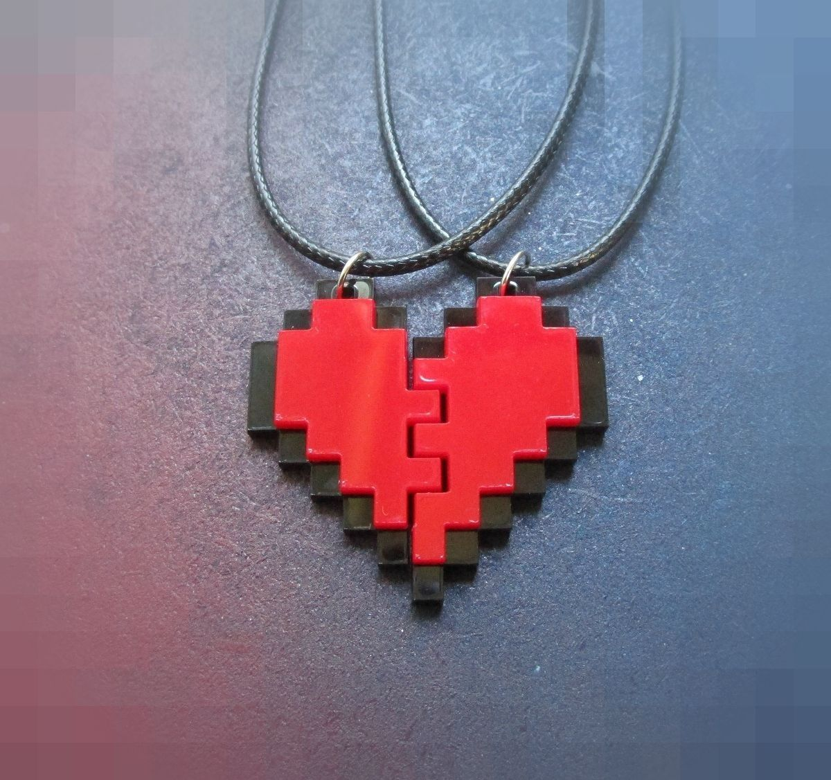 Bff Heart Necklaces Friendship Pixel Heart Set Of 2 Necklace Best Friends Gift Lego Necklace Bff Necklaces Broken Heart Bracelet