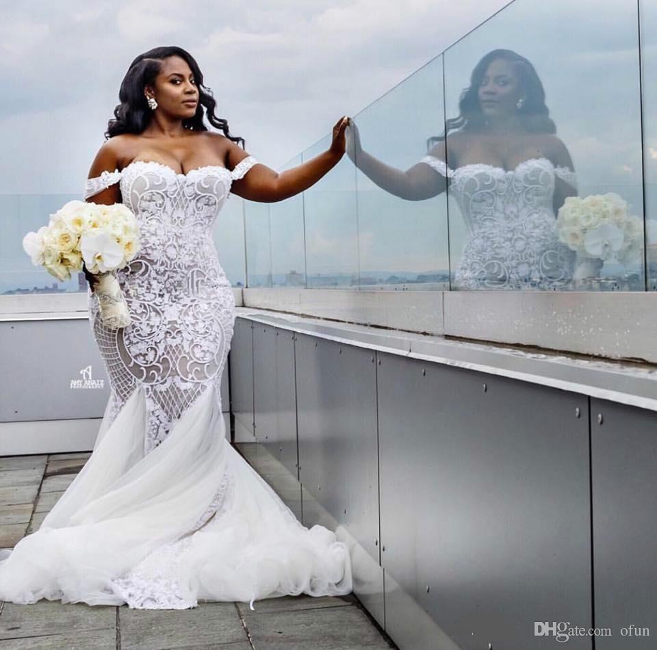 ba5828ad4466 Modest Sexy Mermaid Wedding Dresses Lace Applique Trumpet Bridal Gowns Off  Shoulder Beach Plus Size Wedding