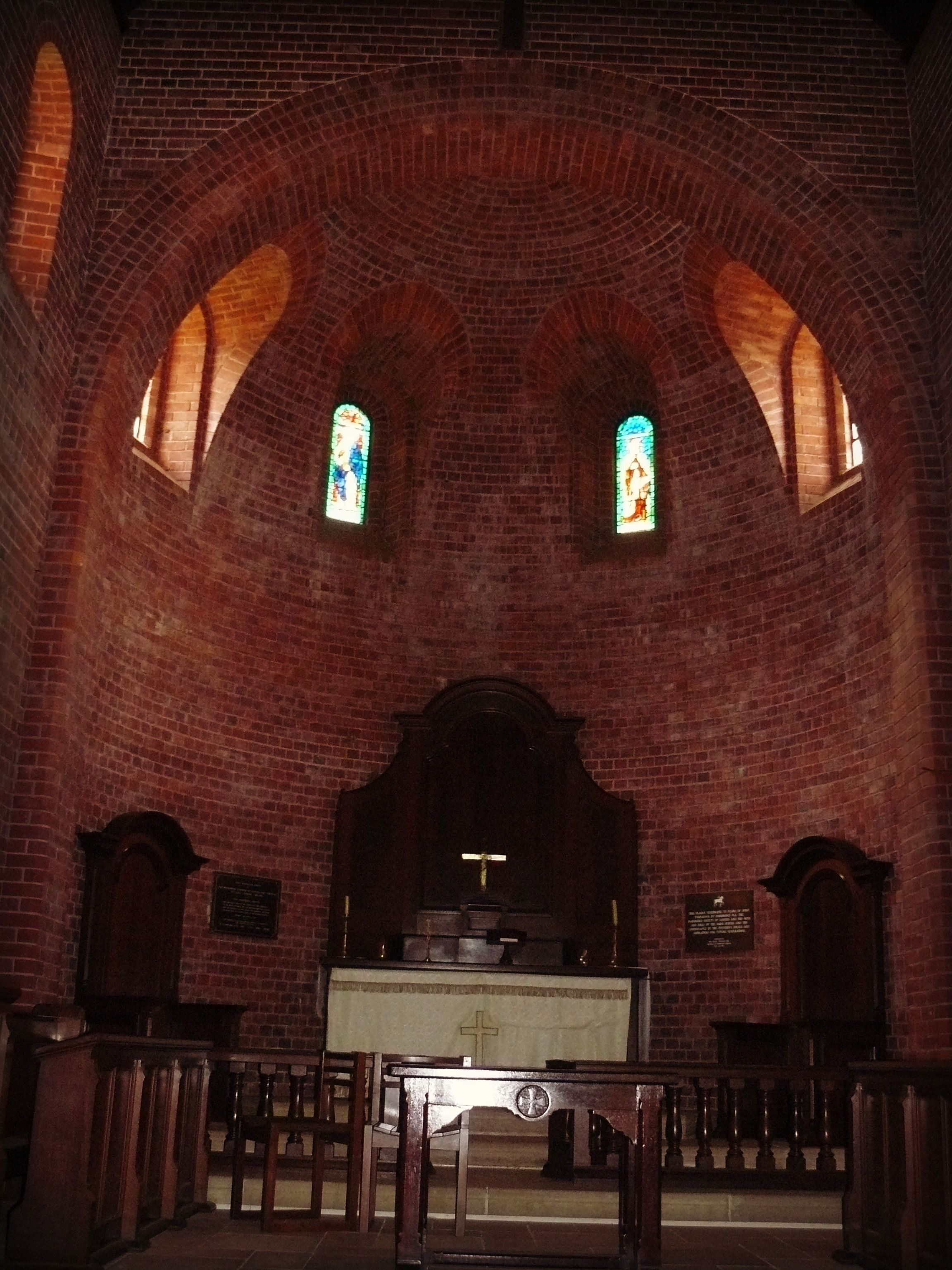 Full of amazing brick arches, this is the alter of the historic Fairbridge Memorial Chapel built in 1931