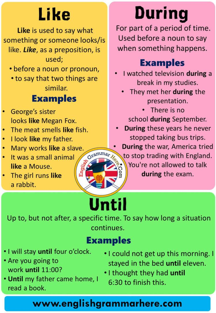 Using Like During And Until And Example Sentences Using Like Like Is Used To Say What Something English Vocabulary Words English Grammar Learn English Words