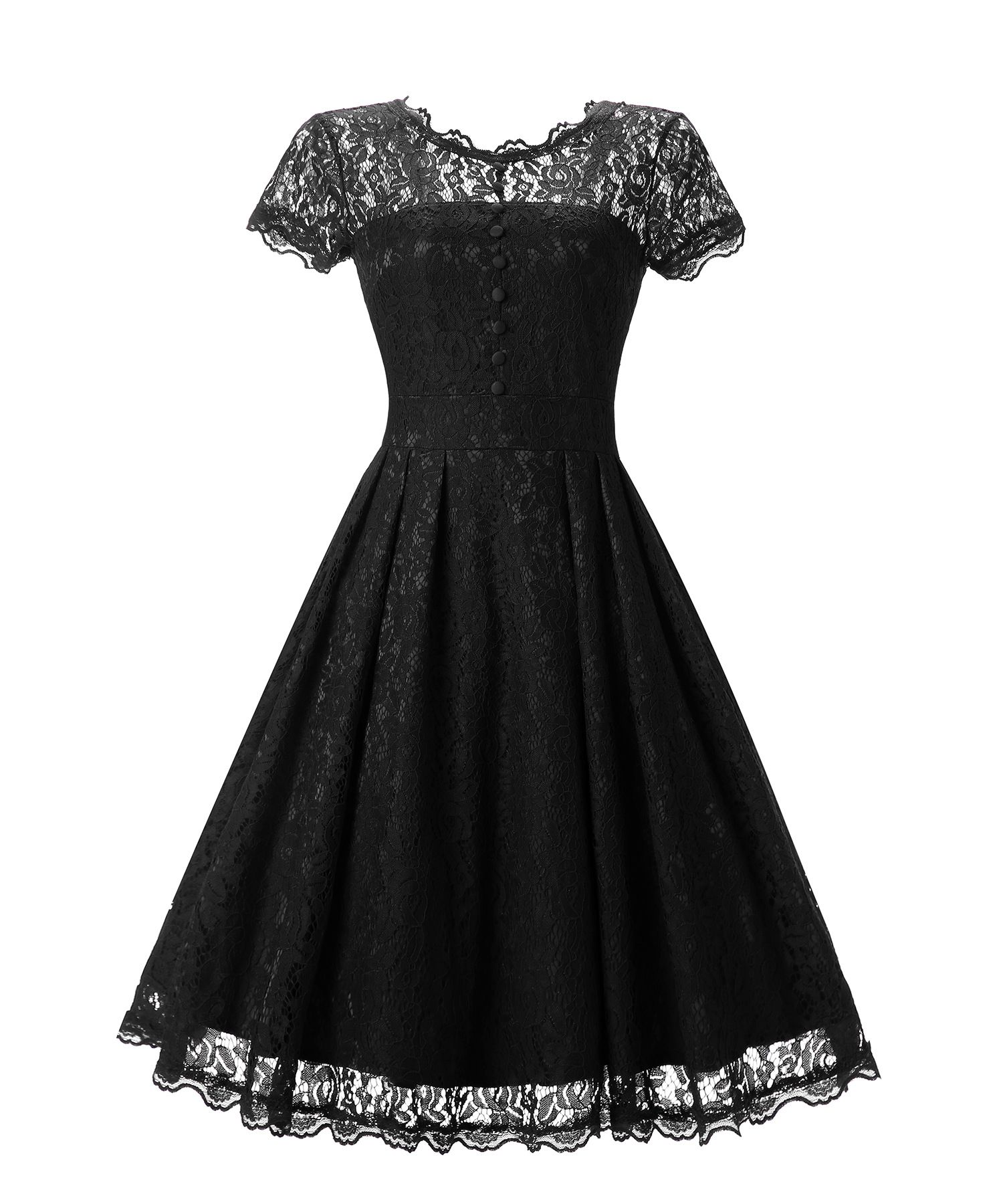 1364801f8b Women s Vintage Lace Overlay Double Layer Knee Length Skater Swing Dresses