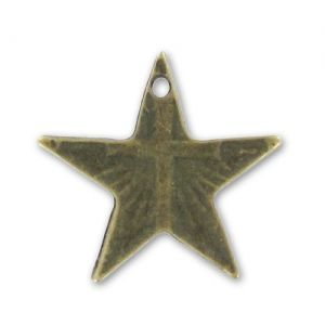 Breloque étoile croix 20 mm bronze x1