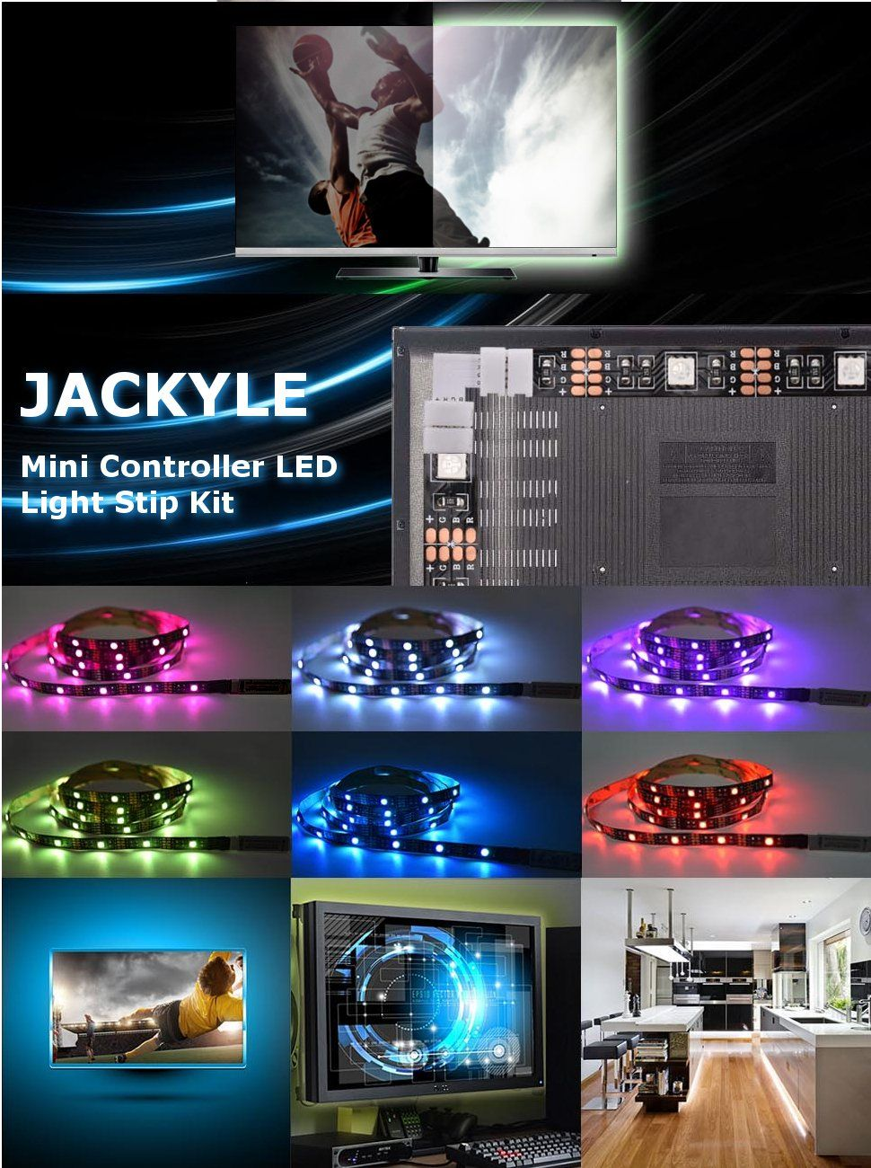 Tv led light strip jackyled 66ft 60leds led tv backlight strip usb tv led light strip jackyled 66ft 60leds led tv backlight strip usb bias monitor lighting aloadofball Gallery
