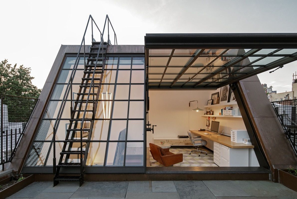 House window sunshade design  stunning attic workspace with direct rooftop access  lily