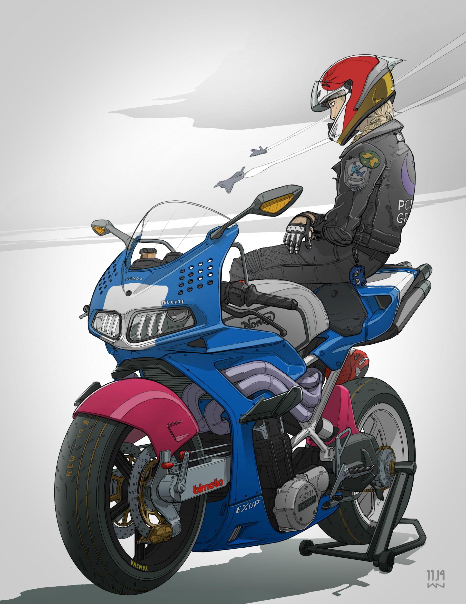 motorcycle mice cartoon - HD1912×2475