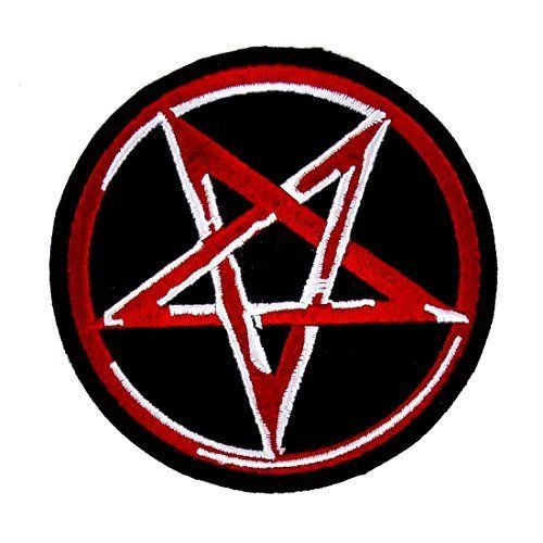 PENTAGRAM Satan Devil Ritual 666 Black Red Logo Sew On Patch Black Metal NEW