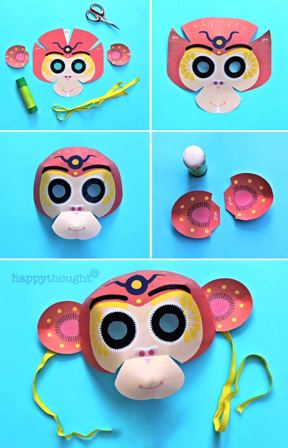Make a monkey mask for Chinese New Year! DIY printable template at ...