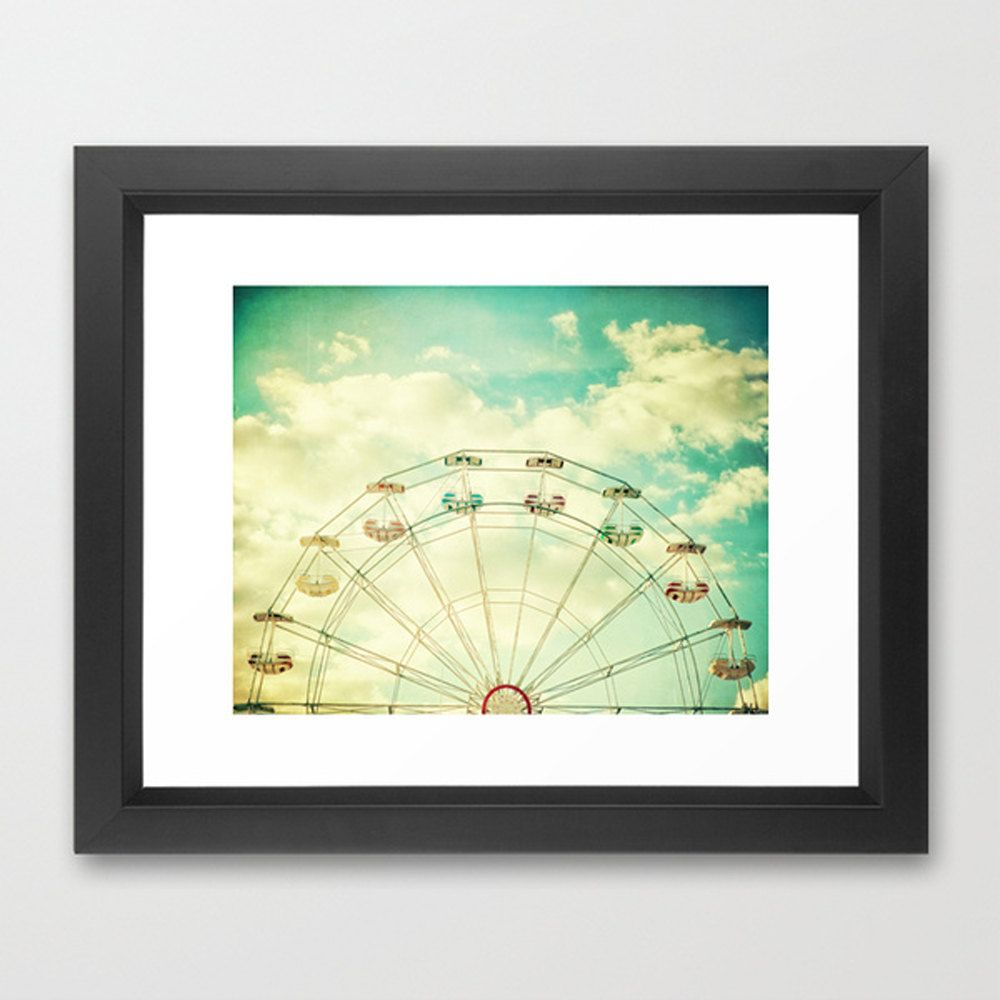 Ferris wheel photography, carnival photo, golden sunset puffy clouds ...