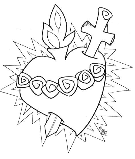 Dibujo para colorear. Sagrado Corazón de #María. www ...