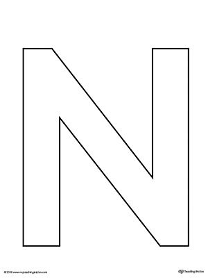 graphic relating to Letter N Printable identified as Uppercase Letter N Template Printable letters Letter n