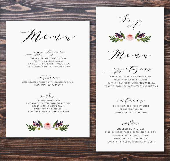 Wedding Menu Template 5 Plus Printable Designs Wedding Day u003c3 - a la carte menu template